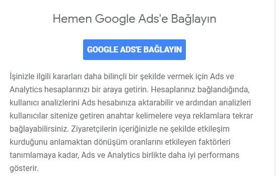 Google Analytics'i Hemen Google Ads'e Hesabınıza Bağlayın