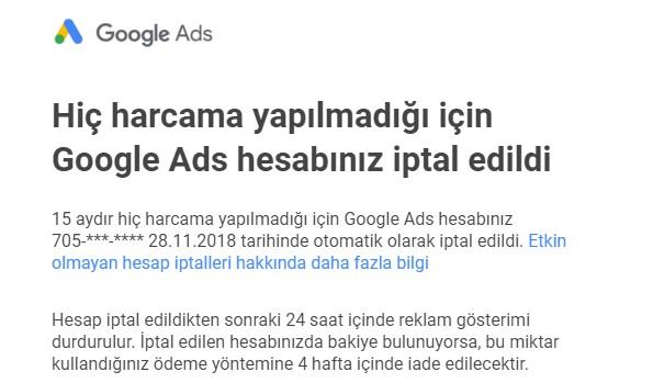 Google'dan uyarı mesajı! Hiç harcama yapılmadığı için Google Ads hesabınız iptal edildi mesajı nedir?