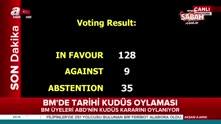 BM'de tarihi Kudüs kararı sona erdi 128 oy ile tasarı kabul edildi.
