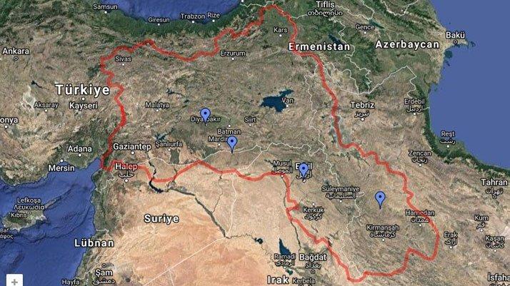 Google maps'te Kürdistan haritası skandalı!